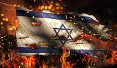 Israel Burning Fire Flag War Conflict Night 3D