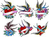 style bird tattoo set