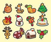 cute cartoon Christmas element icons