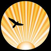 Bird silhouette with orange sun ray