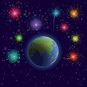 Earth and firework