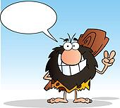 Caveman And Speech Bubble
