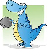 Blue T Rex Holding A Boulder