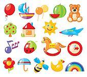 set of colorful children's pictures for kindergarten