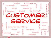 Customer Service Word Cloud Concept on a Whiteboard