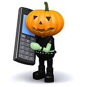 3d Pumpkin head chats on a cellphone