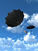 Umbrellas Floating in sky