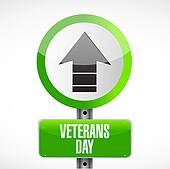 veterans day up arrow road sign