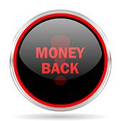 money back black and red metallic modern web design glossy circle icon