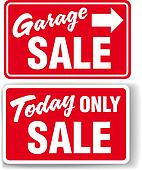 Garage arrow Today ONLY SALE sign