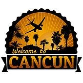 Cancun travel label or stamp
