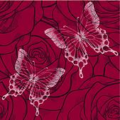 beautiful seamless background with butterflies and flowers roses. Hand-drawn contour lines and strokes. Perfect for background greeting cards and invitations