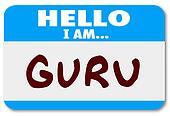 Guru Word Name Tag Sticker Teacher Guide Mentor Expert