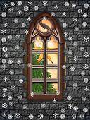 Church window at christmastime