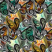 Colorful abstract seamless paisley pattern