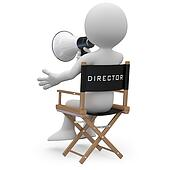 Film director sitting in a chair