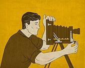 Cameraman vintage movie film camera shooting