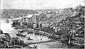 Oporto City, Portugal, vintage engraving