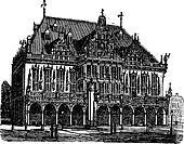 Council house or council estate, Bremen, Germany, vintage engraving.