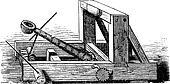Catapult or Slingshot vintage engraving