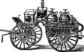 Horse-driven Fire Wagon, vintage engraved illustration