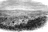 Nazareth in North District, Israel, vintage engraved illustration