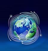 Optical fibres around planet Earth
