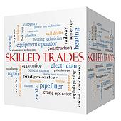 Skilled Trades 3D cube Word Cloud Concept