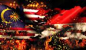 Malaysia Indonesia Flag War Torn Fire International Conflict 3D