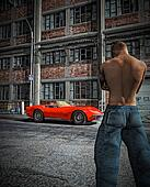 Man and red sports car