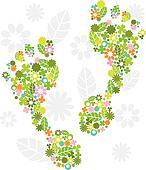 Green feet made of flowers