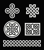 Celtic knots patterns on black