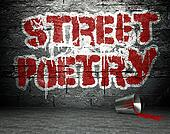 Graffiti wall with poetry, street background