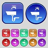 Washbasin icon sign. A set of twelve vintage buttons for your design.