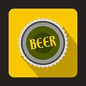 Beer bottle cap icon in flat style