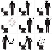 illustration signs for cleaning of toilette