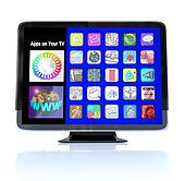 Apps Icon Tiles on High Definition Television HDTV