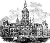 Hartford, Connecticut, New State House vintage engraving