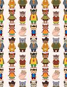 cartoon cat family seamless pattern