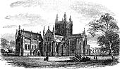 Hereford Cathedral,England vintage engraving