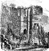 Cesar's tower at Kenilworth Castle, Warwickshire, United Kingdom, vintage engraving.