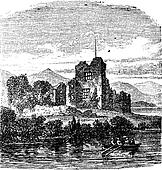 Ruins of Castle Ross, Killarney, Ireland vintage engraving