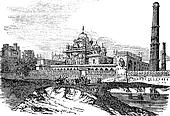 Tomb of Ranjeet Singh in Lahore, Pakistan vintage engraving