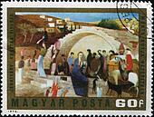 "HUNGARY - CIRCA 1973: A stamp printed in Hungary shows the painting ""Maria Kutja Nazaretben"" (1908) by Hungarian painter Tivadar Kosztka Csontvary, circa 1973"