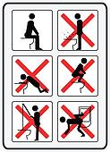 illustration signs  how not to use a toilette