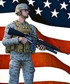 US Marine Standing before FLag