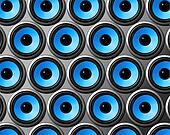blue speakers wall