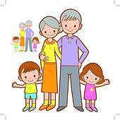 Happy Grandparents and Grandchildren Mascot. Home and Family Cha