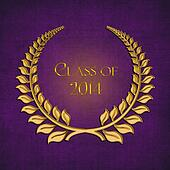gold laurel on purple for 2014 grad