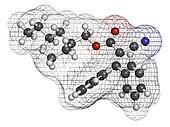 Octocrylene sunscreen molecule.